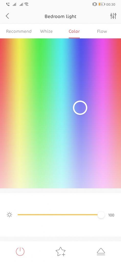 Ecran de selectare a culorii