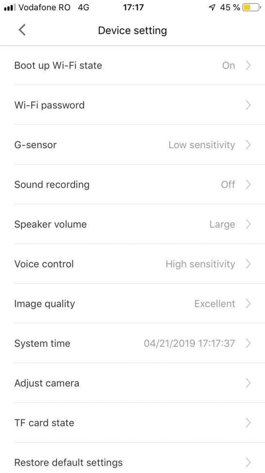 Aplicatia Xiaomi 70 MAI - ecran setari