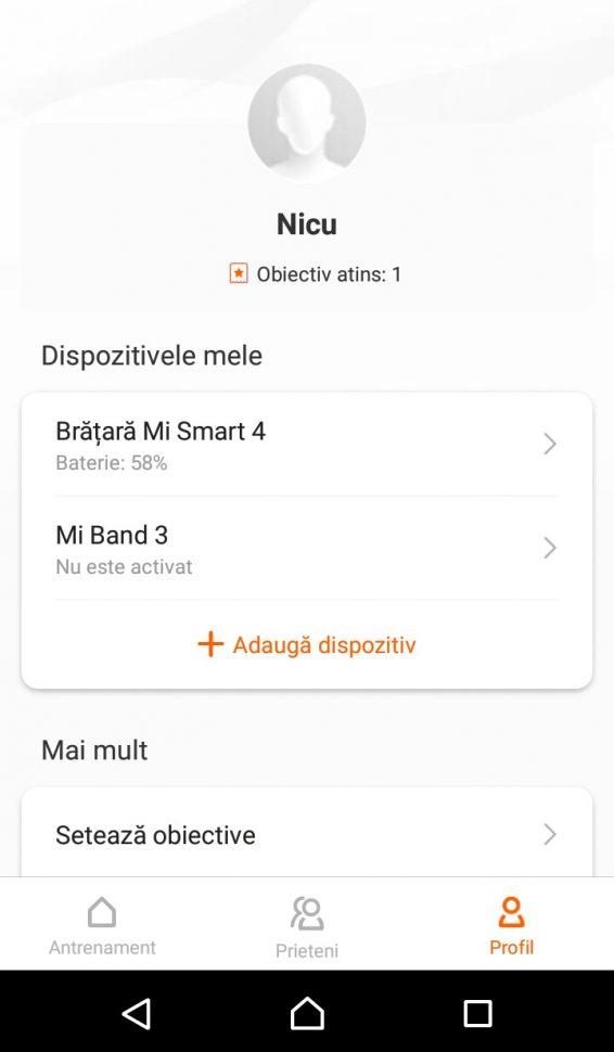 Meniul Profil Xiaomi Mi Fit